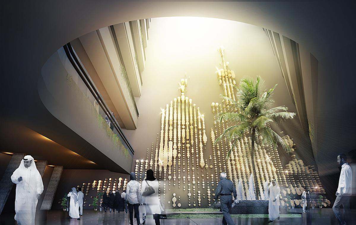 Interior rendering of hotel