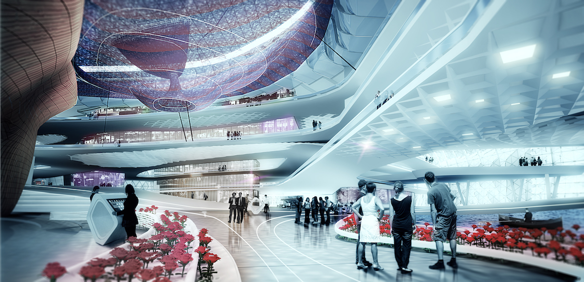 Interior rendering of open space mall
