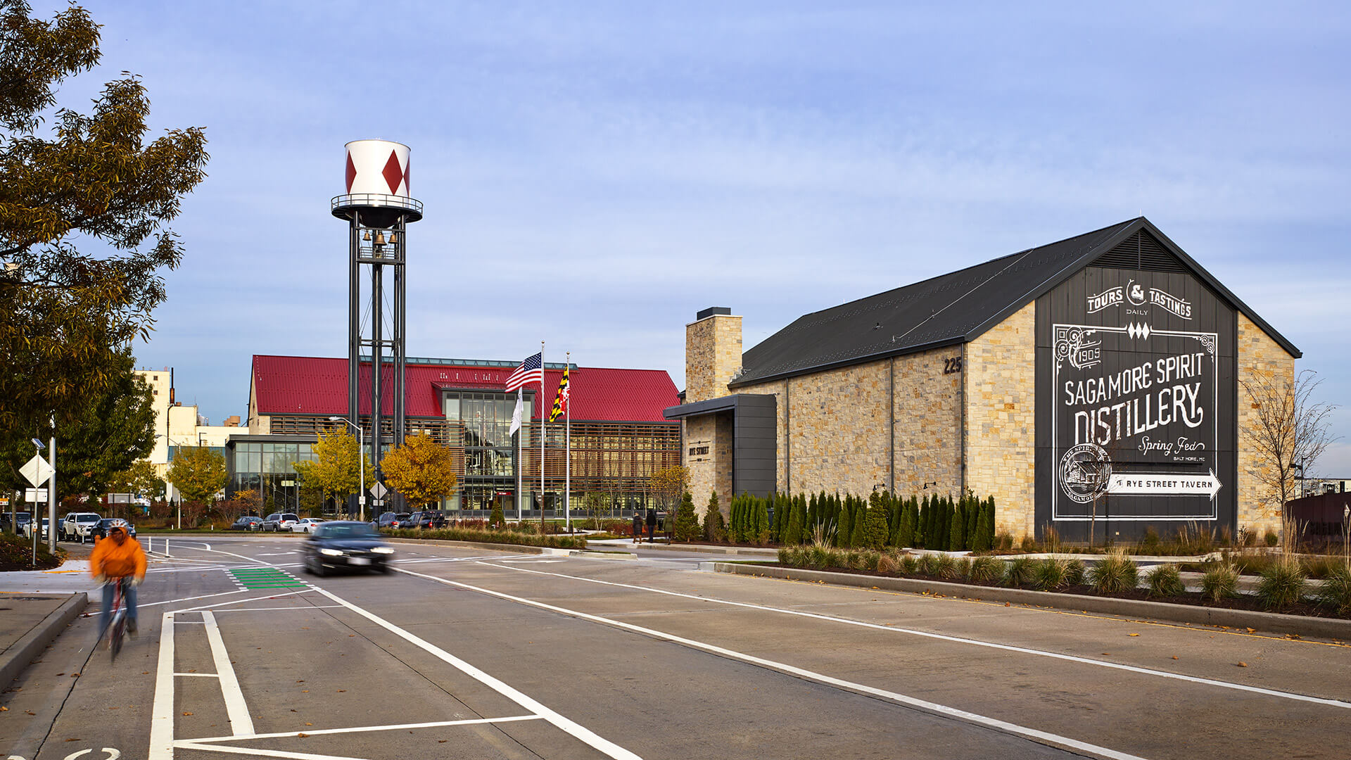 Front of the Sagamore Spirit Distillery in Baltimore, MD