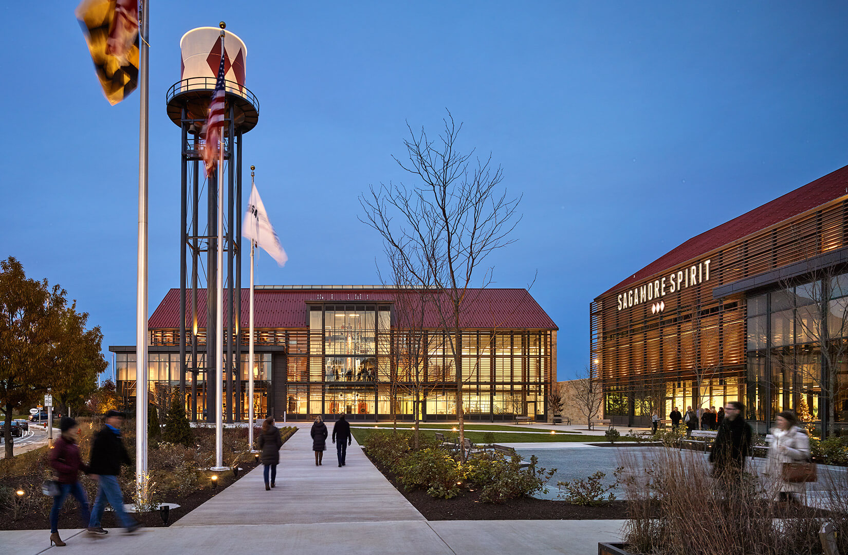 The water tower of Sagamore Spirit Distillery in Baltimore, MD