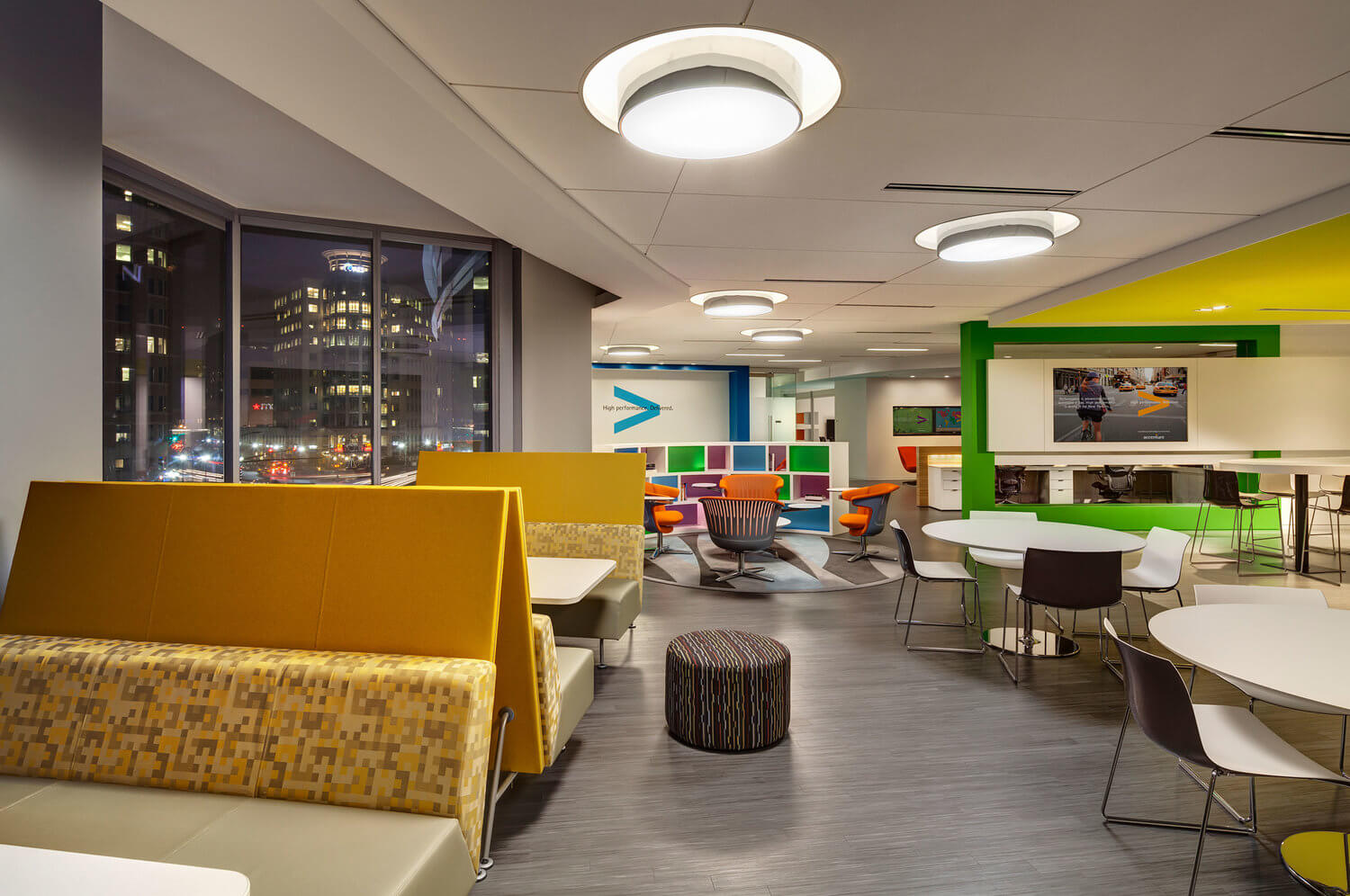 Community tables at Accenture at 800 North Glebe Road in Arlington, Virginia