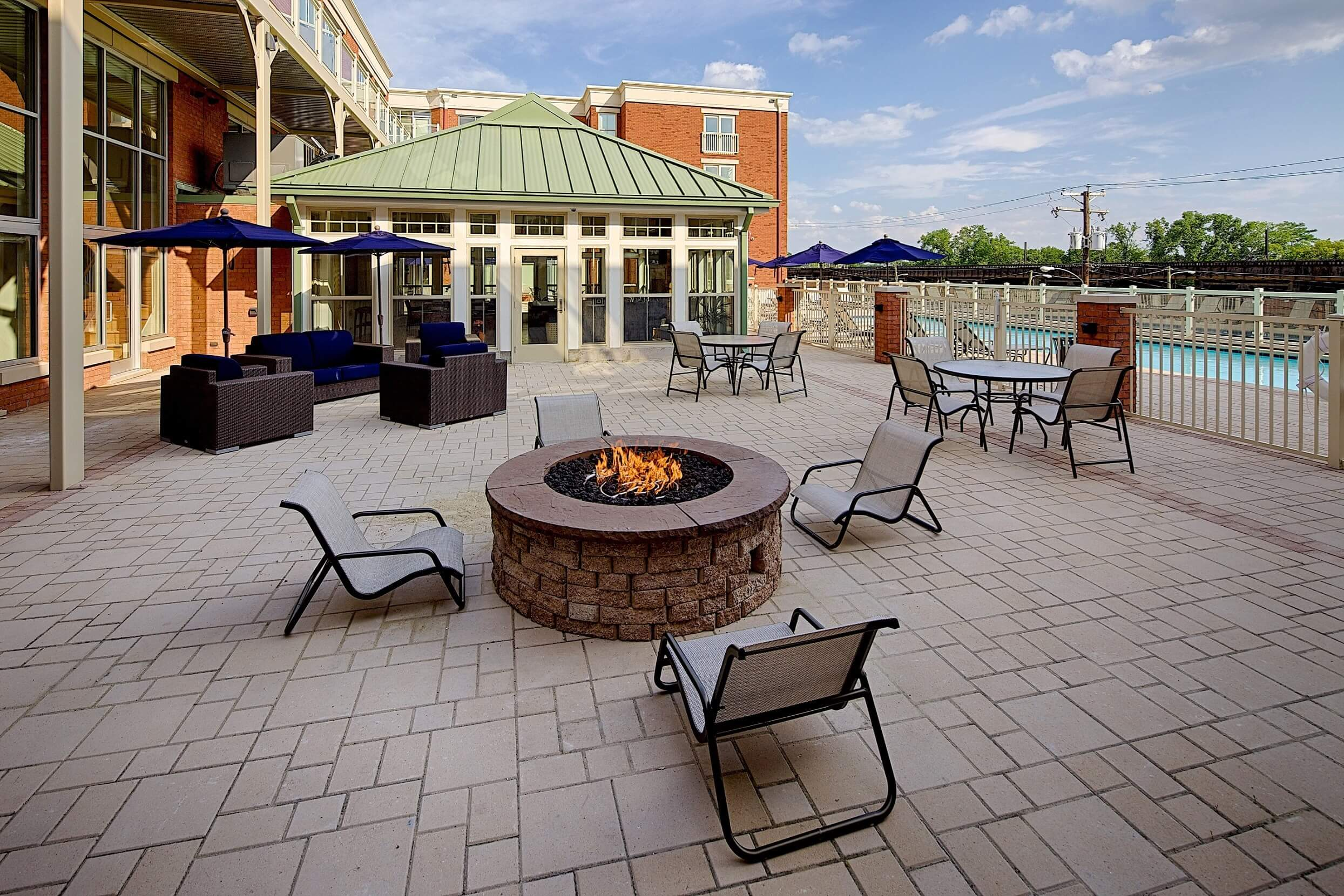 Poolside patio of the Canal Lofts IV in historic Richmond, VA