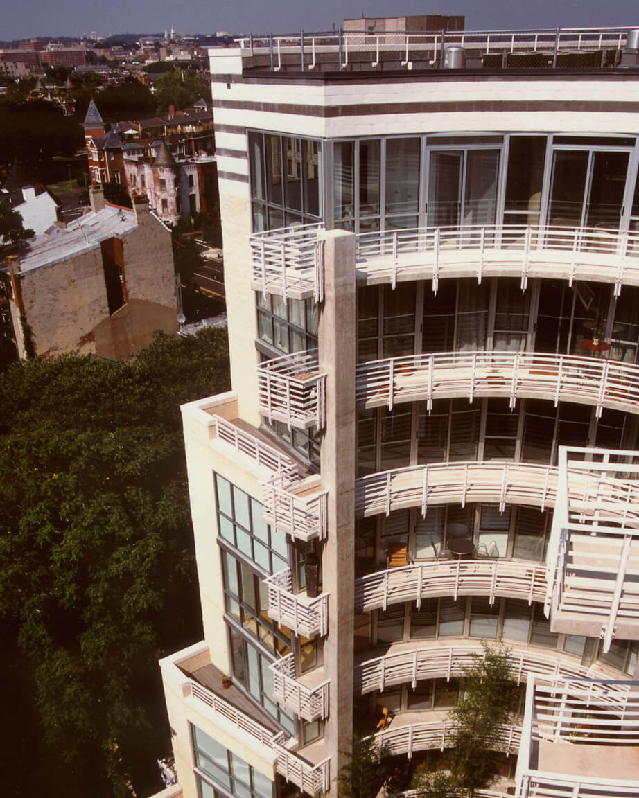 An aerial view of the SoLo Piazza condominium in Washington, DC