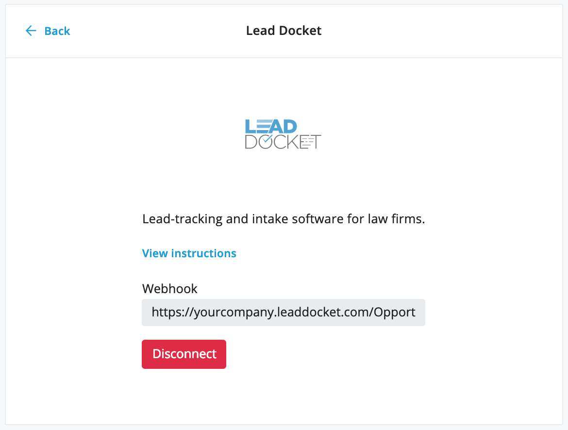 Lead Docket integration connected page