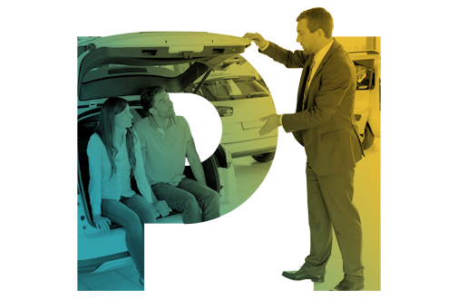 Auto Salesman showing a car to customers