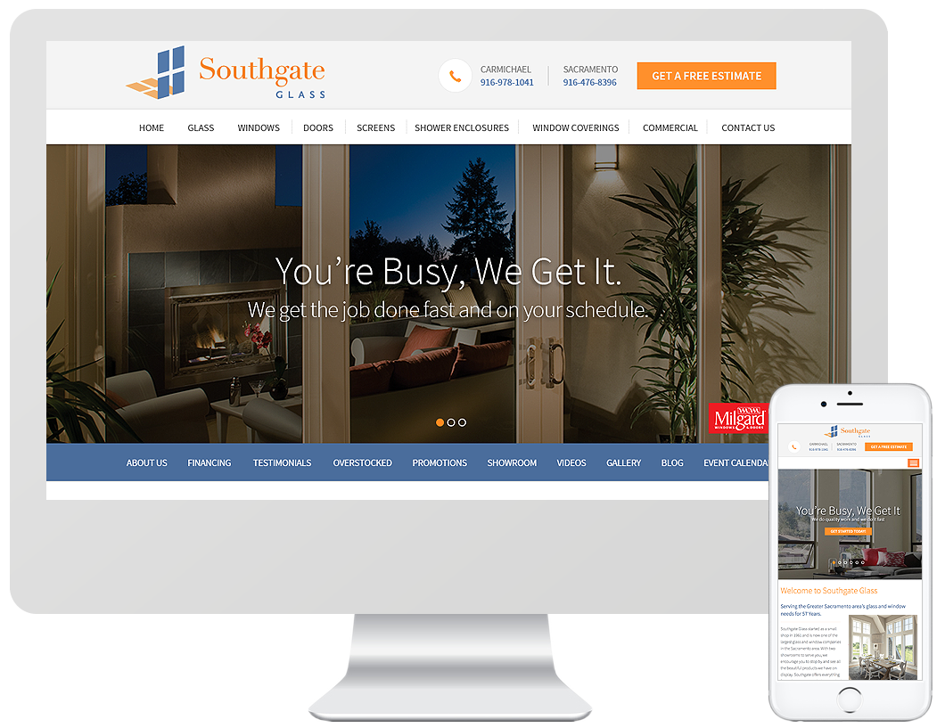Website home page design for Southgate Glass