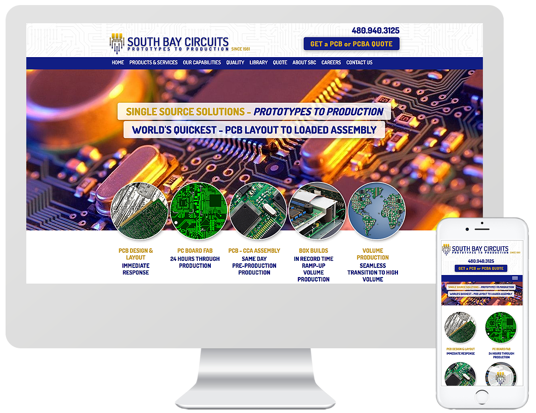 Website home page design for South Bay Circuits