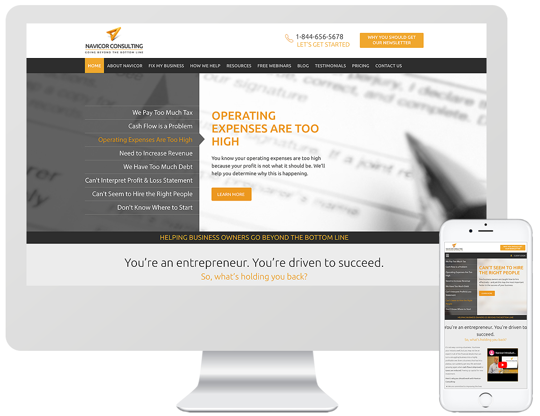 Website home page design for Navicor