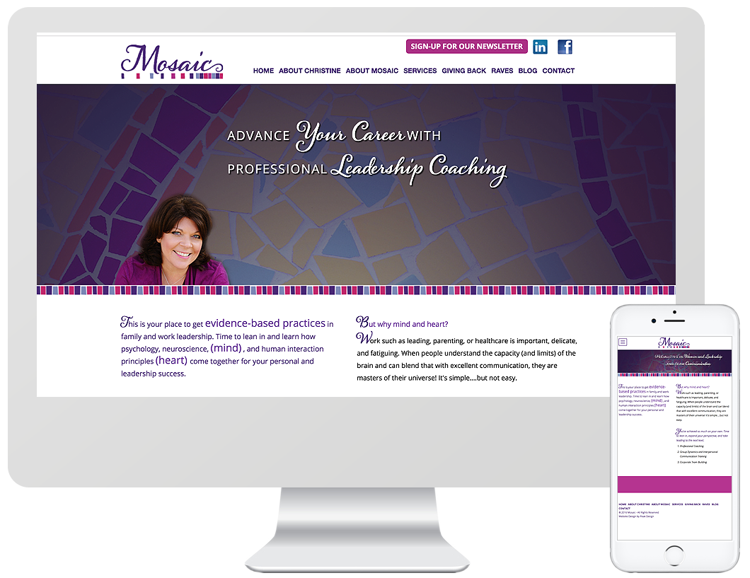 Website home page design for Mosaic