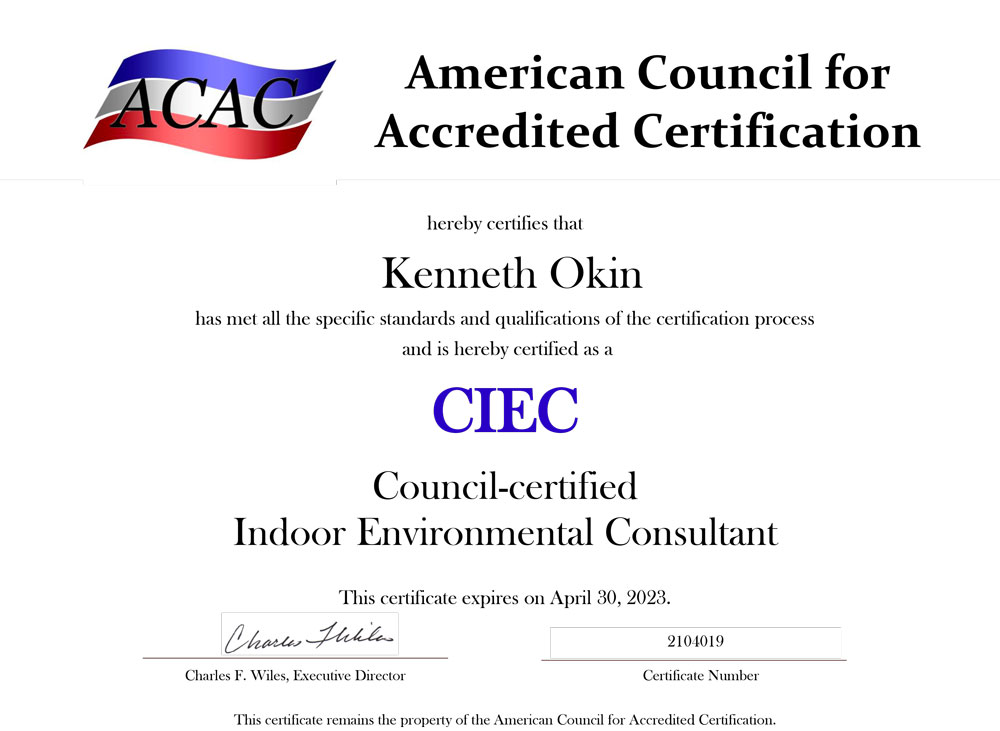 Our ACAC Certification.