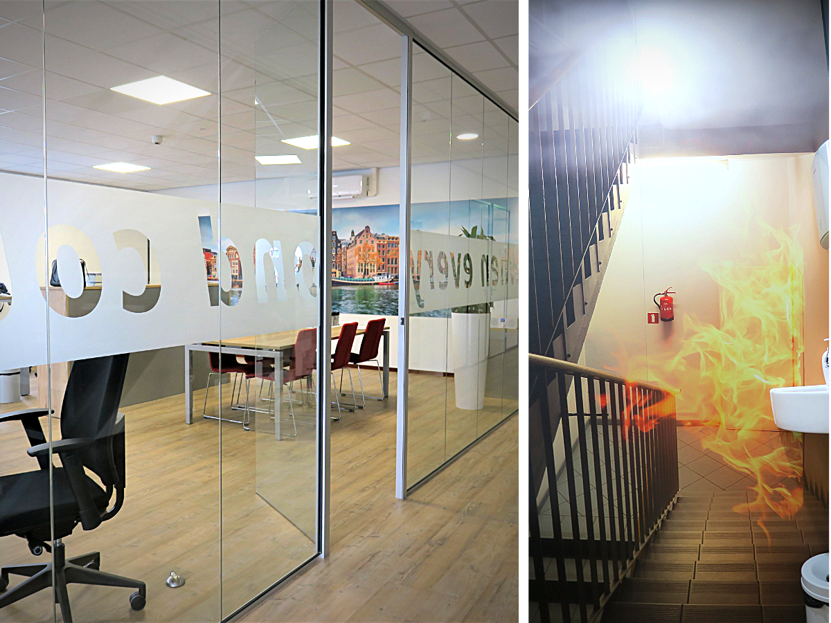 kantoor inrichting wanddecoratie raamfolie privacy
