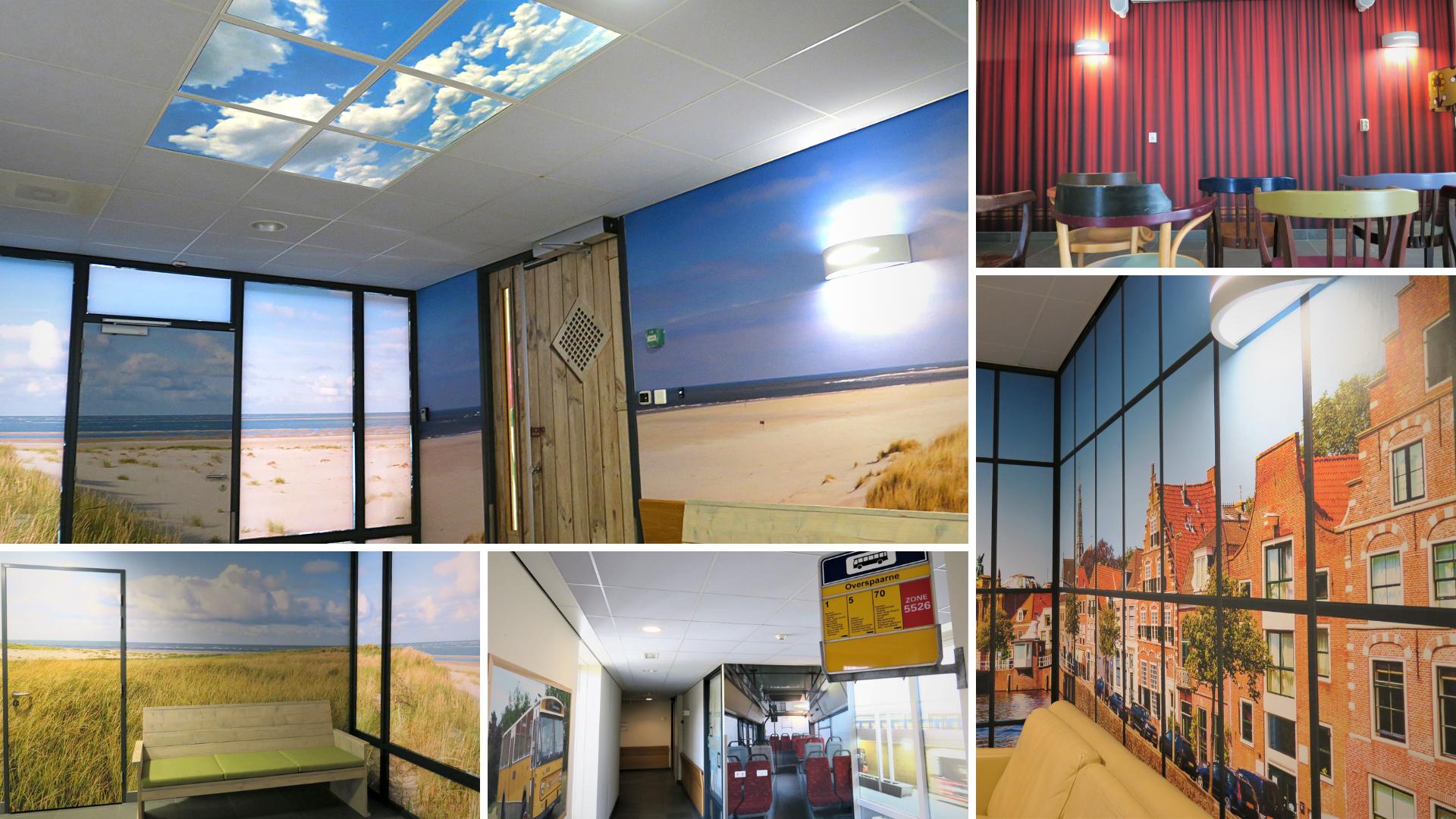 Wanddecoratie en systeemplafonds met zorg