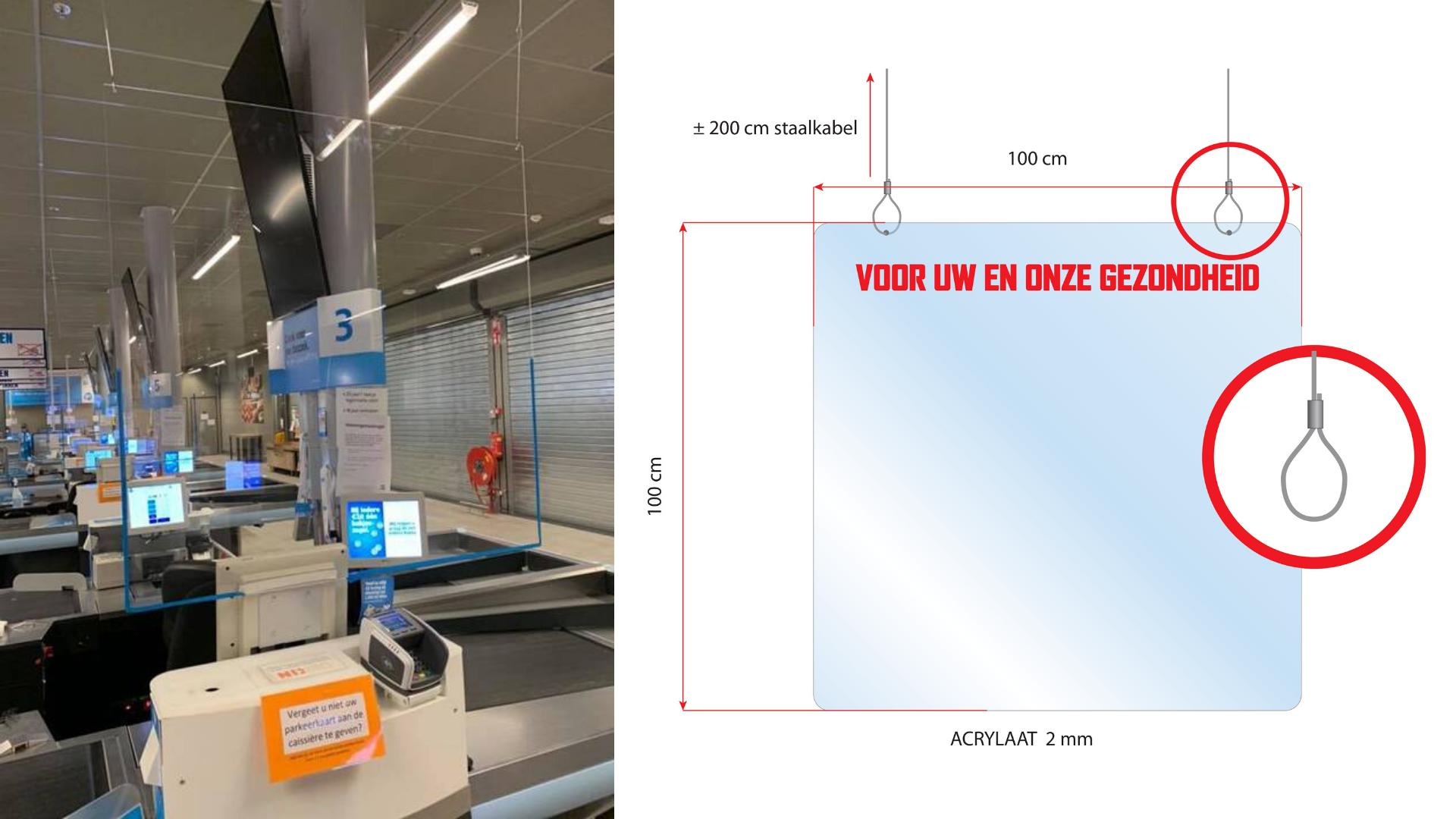 kassaschermen plexiglas schermen coronavirus spatscherm hangend FDS