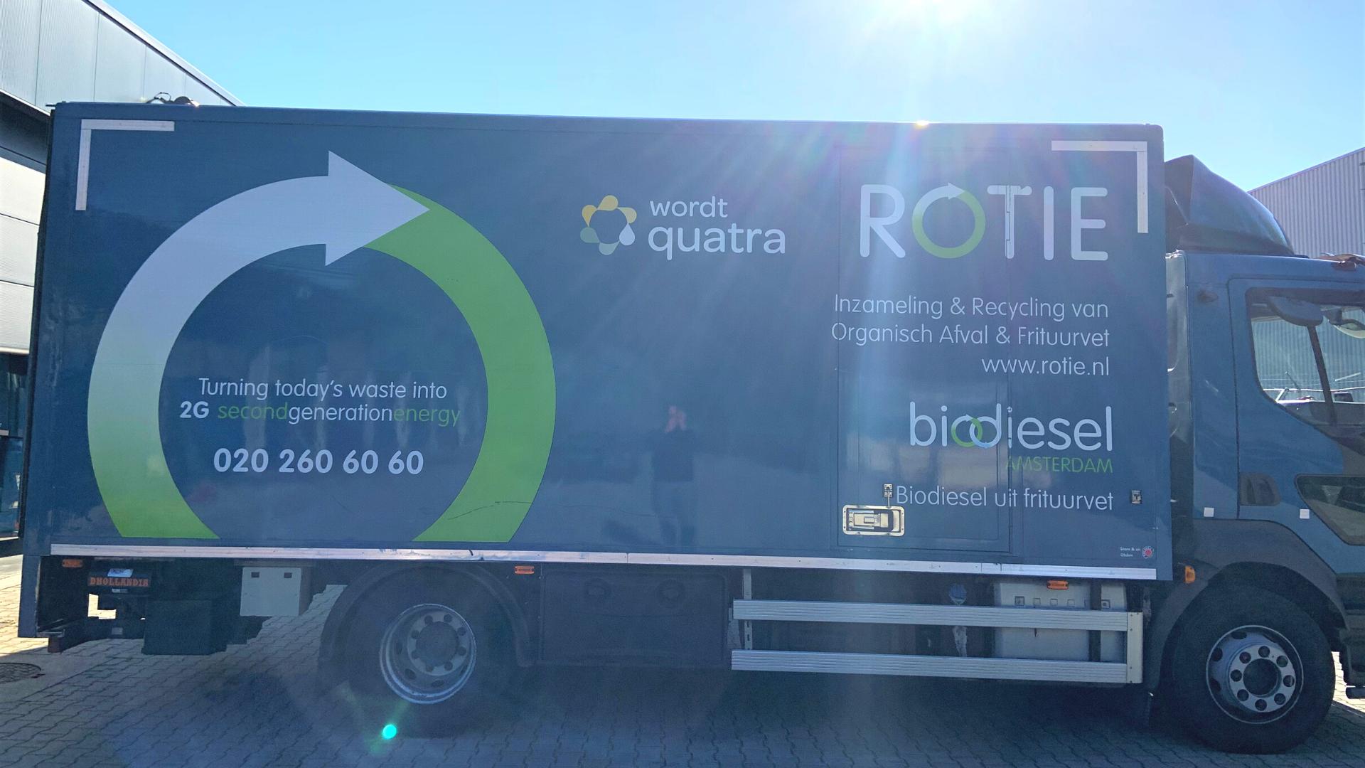 vrachtwagen belettering trailer rotie fusie quatra