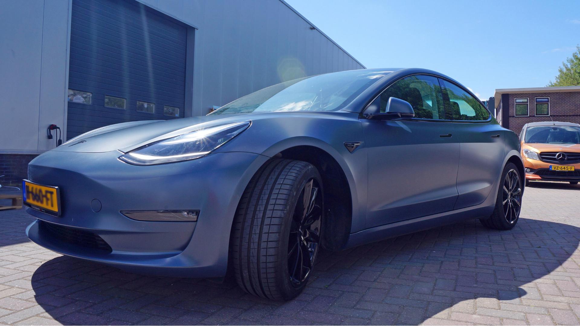 Satin Thundercloud Tesla wrap