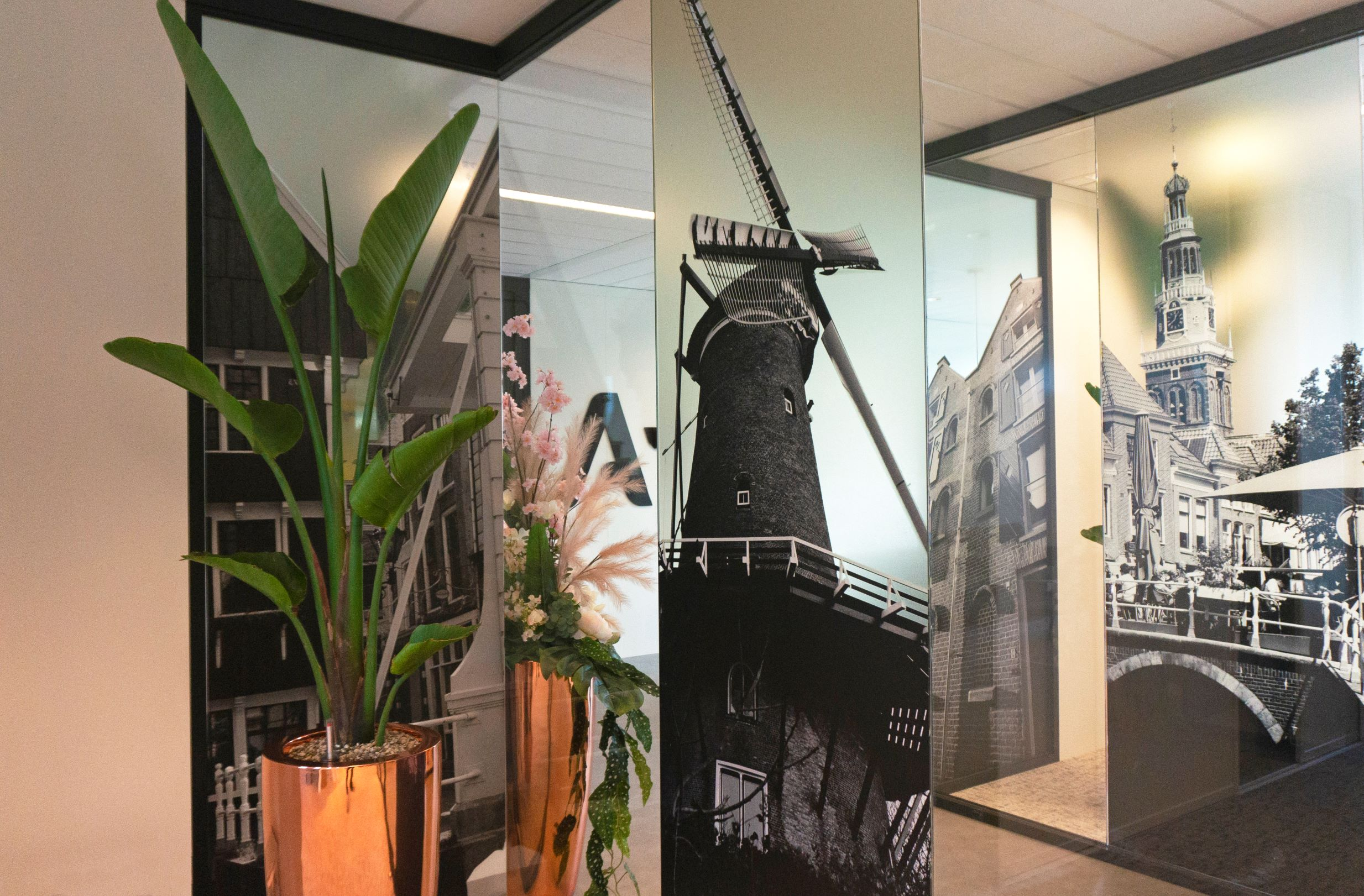 Glasdecoratie prints semi transparant stad
