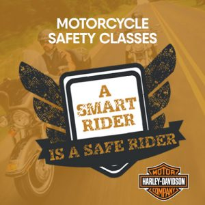 black and white motorcycle safety badge on orange background with Harley Davidson logo