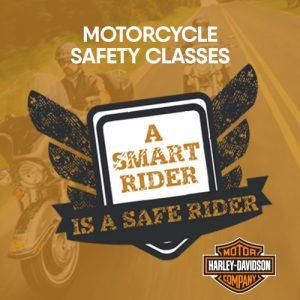 black and white motorcycle safety badge on orange background with Harley Davidson logo