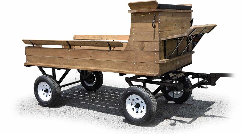 Draft Classic Wagon Bed on Three Ton Pioneer Gear with Air Tires Optional LED Lights and Cushions on Rear Benches