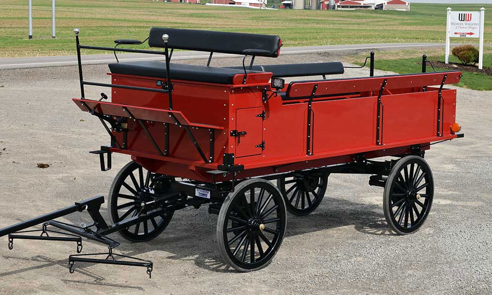 Weaver Parade & Trail Wagon Bed on Three Ton Pioneer Gear with Air Tires Optional LED Lights and Cushions on Rear Benches