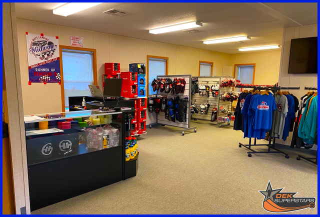 The front desk of a hockey gear and merchandise shop.