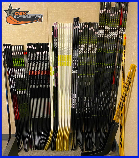 A picture of hockey sticks.