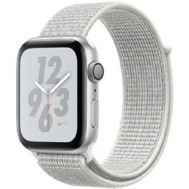 Apple Watch Nike+ Series 4 GPS, 44mm Silver Aluminium Case with Summit White Nike Sport Loop