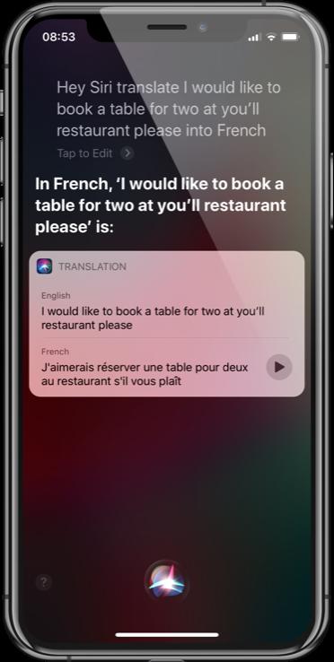 Siri Translate French
