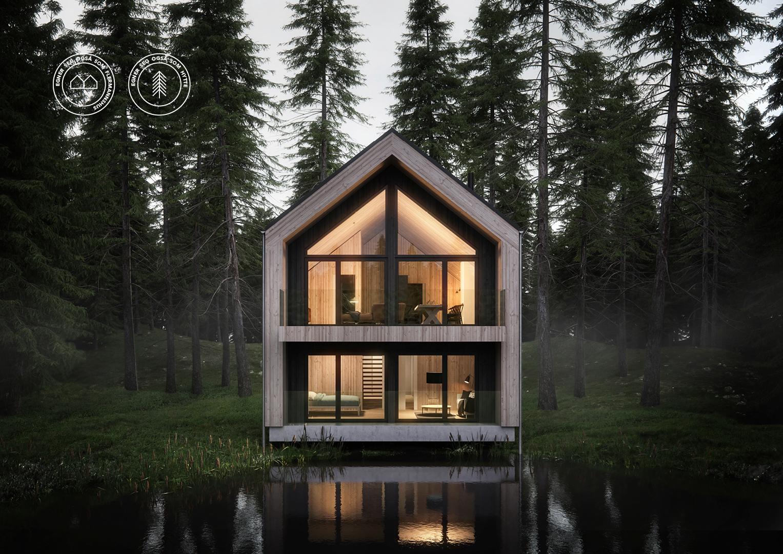 Illustrasjon: Hytte 14 fasade