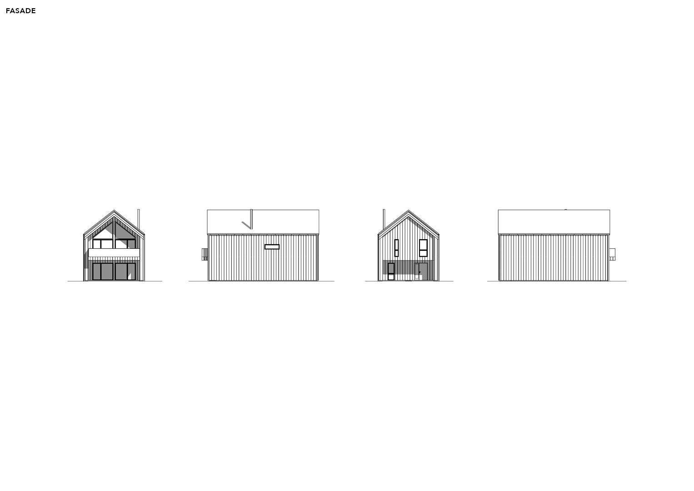 Illustrasjon: Hytte 14 fasade tegning