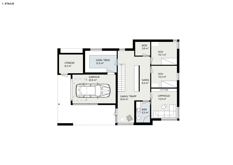 Illustrasjon: Hus 04 plantegning 1. etasje