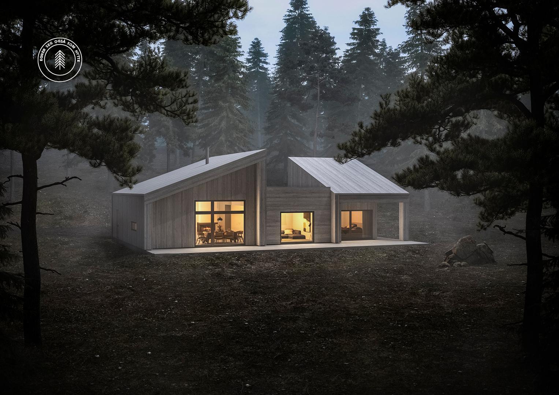Illustrasjon: Hytte 06 fasade