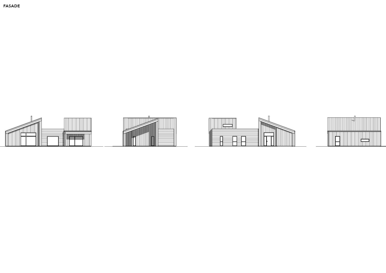 Illustrasjon: Hytte 06 fasade tegning