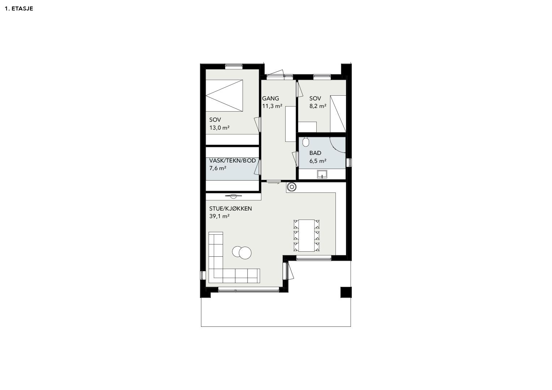 Illustrasjon: Hus 19 plantegning