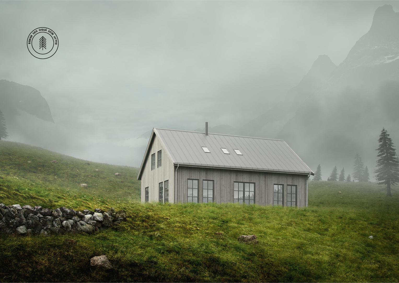 Illustrasjon: Hytte 22 fasade