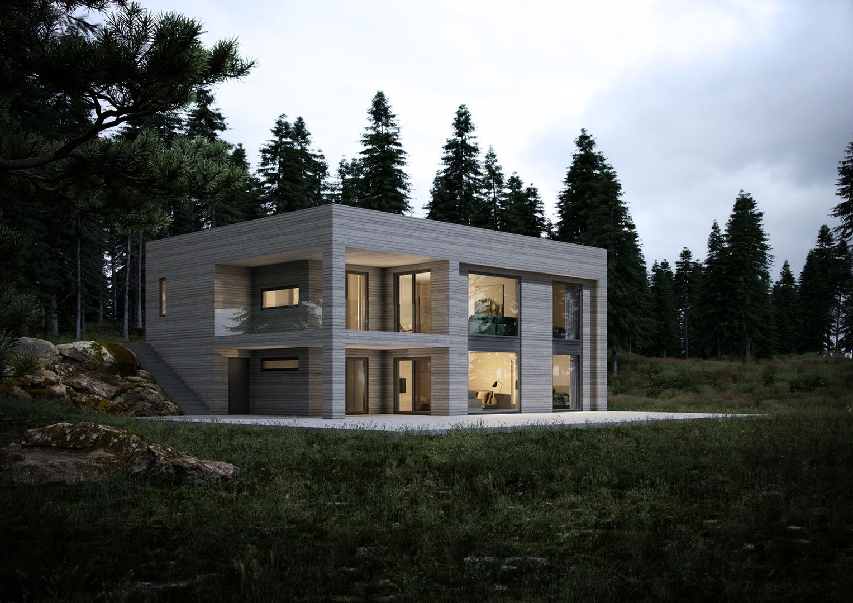 Illustrasjon: Hus 08 fasade
