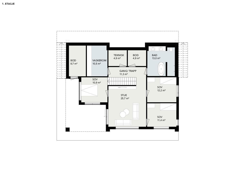 Illustrasjon: Hus 08 plantegning