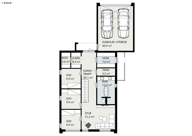 Illustrasjon: Hus 09 plantegning