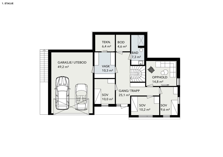 Illustrasjon: Hus 10 plantegning