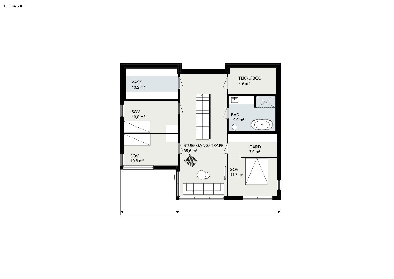 Illustrasjon: Hus 11 plantegning