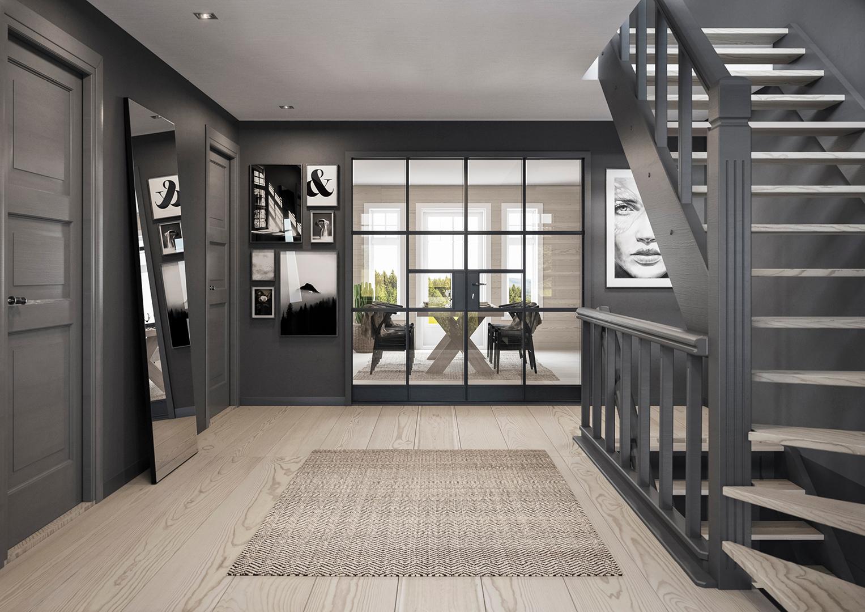 Illustrasjon: Hus 21 gang med trapp