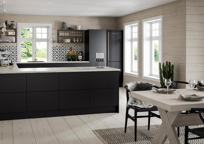 Illustrasjon: Hus 21 spisebord og kjøkkenbenk