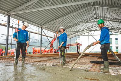 Støping av gulv til handelsbygg