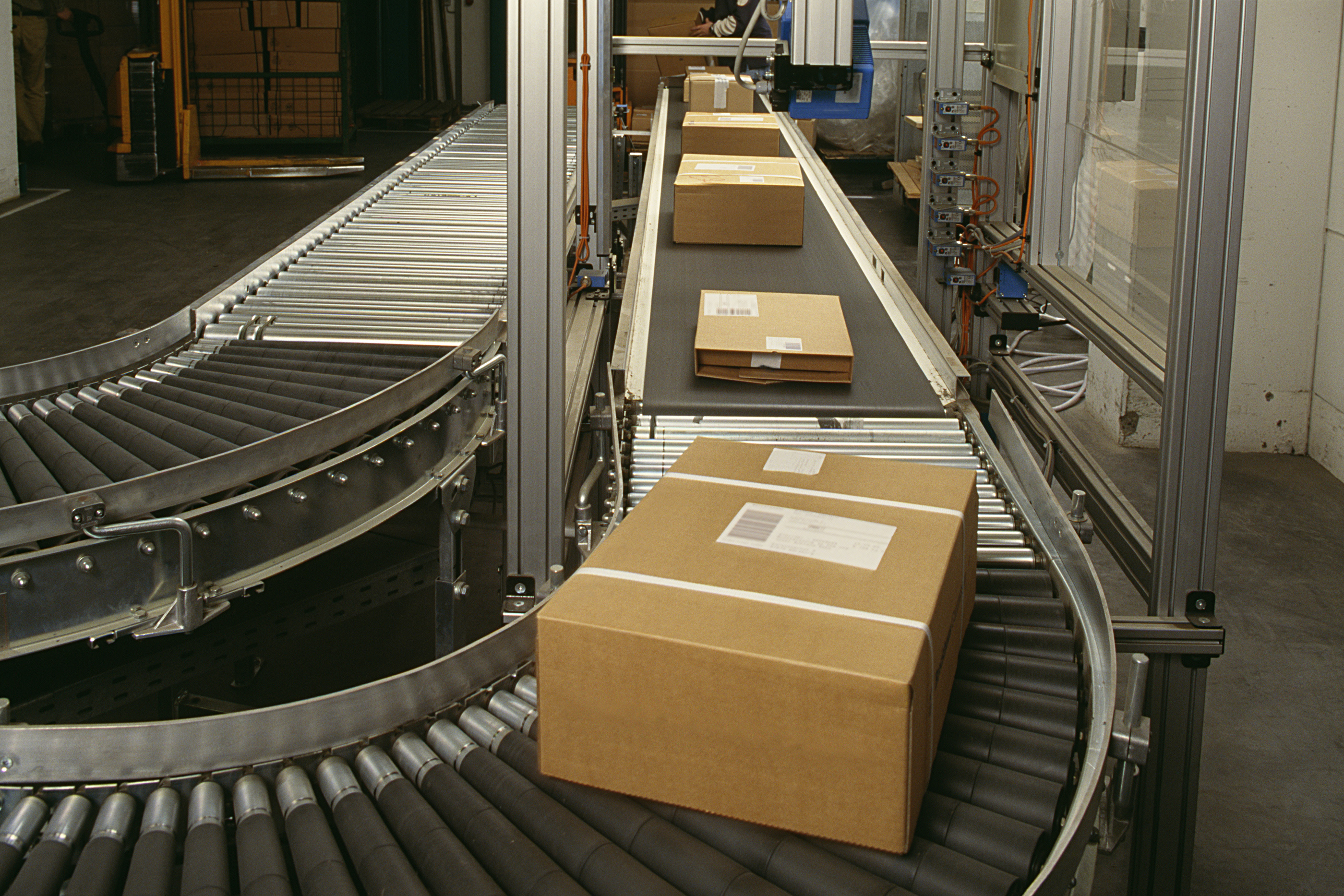 Inventory flowing through a warehouse assembly line
