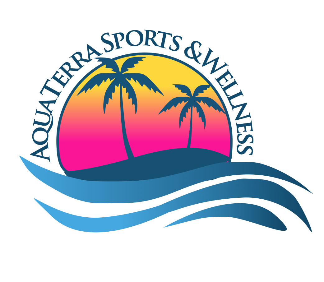Aquaterra Sports and Wellness pink yellow and blue logo with link to homepage