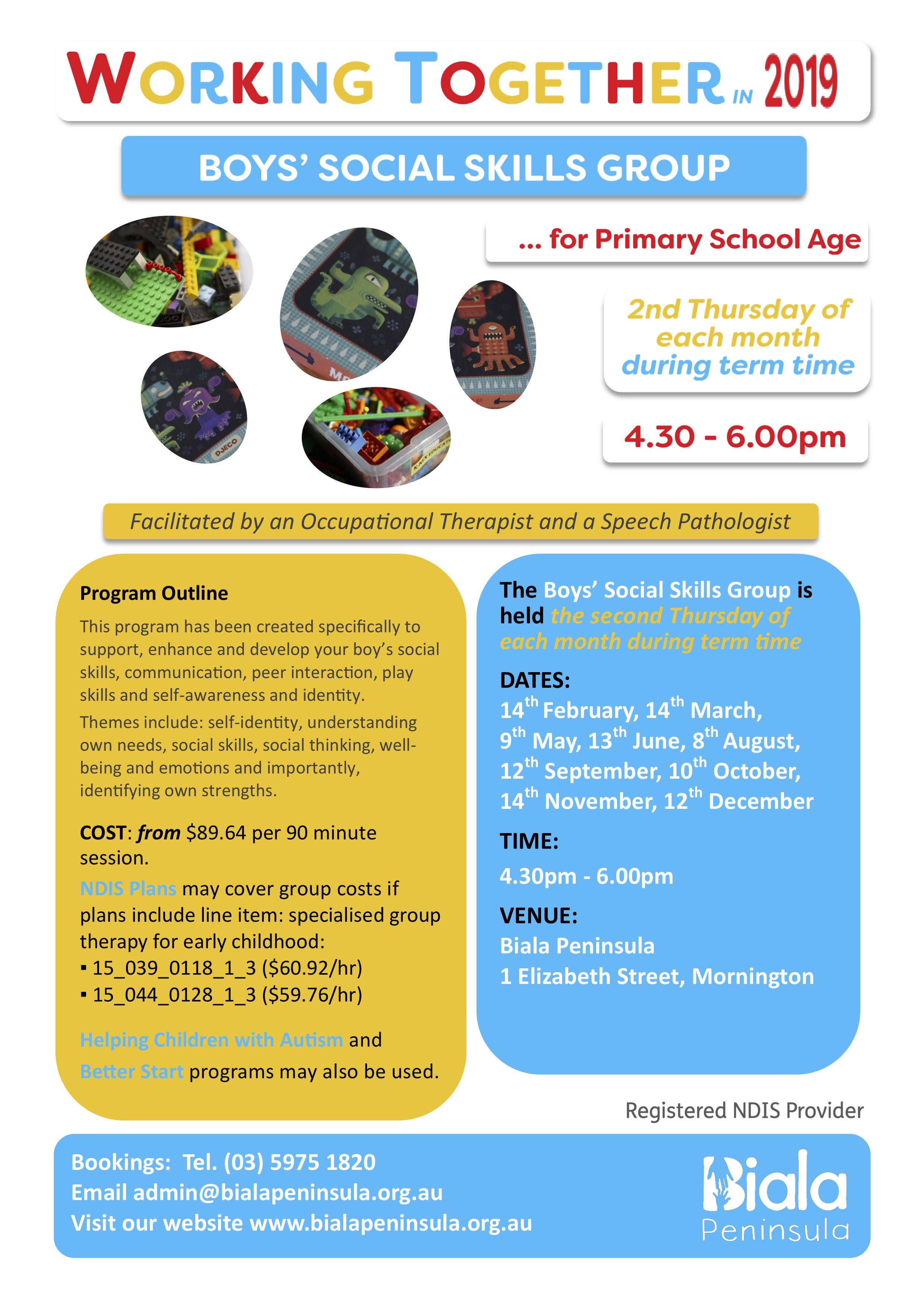 School Aged Boys social Skills Monthly Group 1 This program has