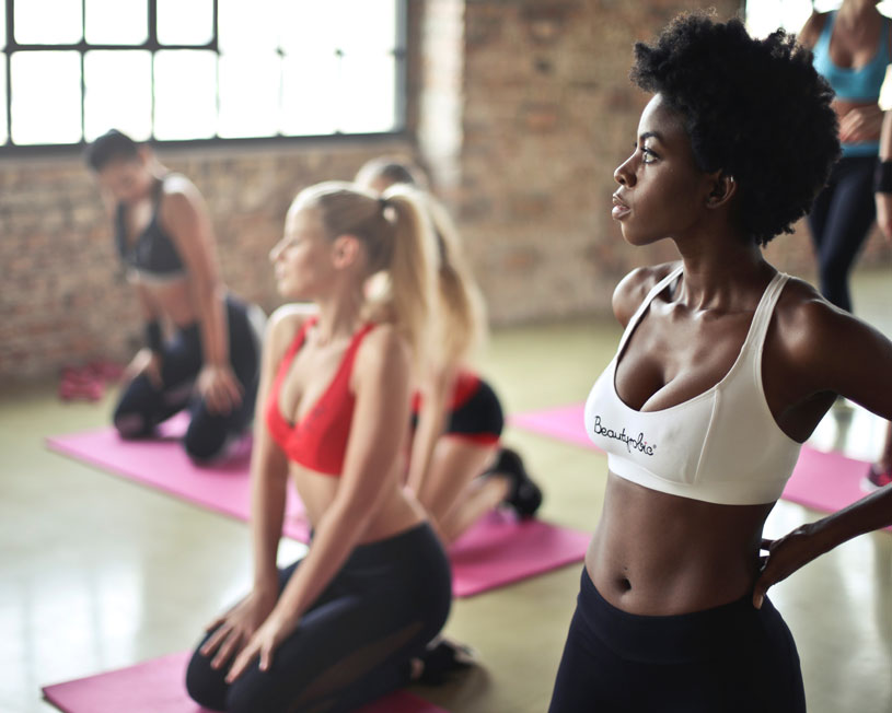 Group of women in yoga class