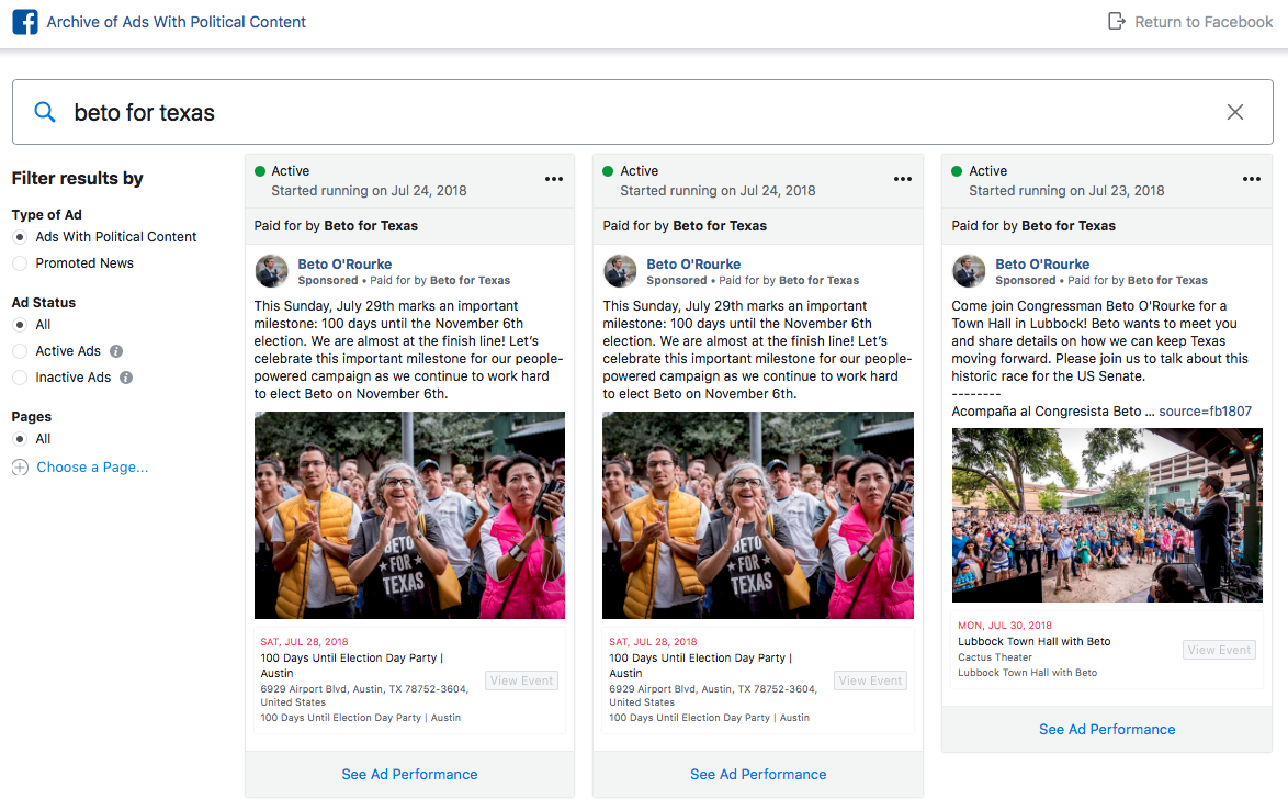 Beto For Texas ads in Facebook political advertising archive