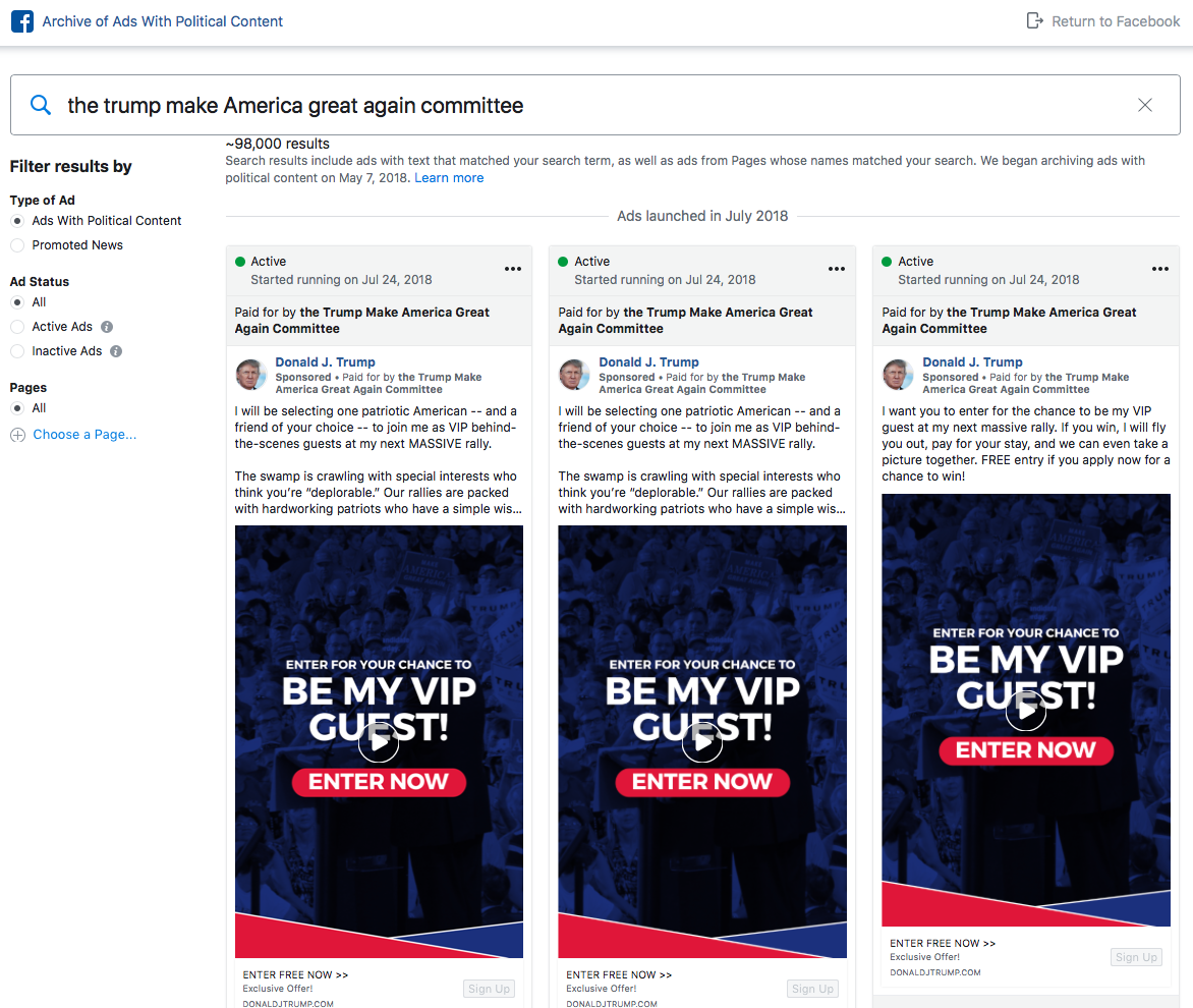 The Trump Make Amercia Great Again Committe ads in Facebook political advertising archive