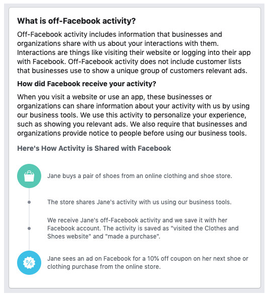 Explanation of off-Facebook activity and remarketing